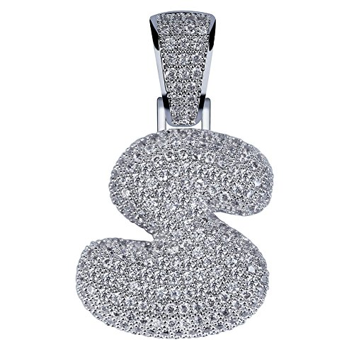 HECHUANG Micropave Simulated Diamond Iced Out Bling Custom Bubble Letters Pendant with Rope Chain (S Silver, 24)
