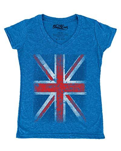 Shop4Ever Vintage Union Jack British Flag Women's V-Neck T-Shirt United Kingdom Flag Shirts Small Heather Royal Blue13315