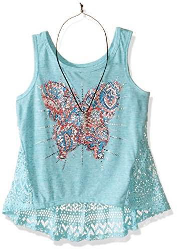 Beautees Big Girls' Screen Tank Top with Lace Back and Necklace, Aqua, Medium
