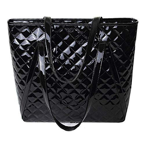 tice Tote Handbag Patent Leather Shoulder Bag Glossy Top-handle Purse(Black) ()