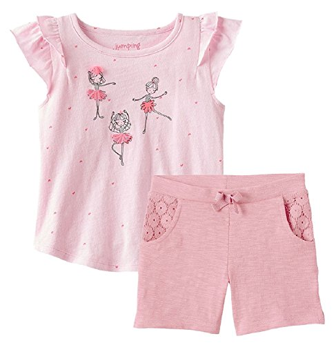 Summer Toddler Girl Flutter Short Sleeve Embellished Ballerina Graphic Tee with Pink Lace Bermuda Short Two Piece Set by Jumping Beans (T3)