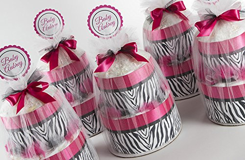 Five Hot Pink & Zebra Two Tier Mini Diaper Cakes. Baby Shower Centerpieces or Gift. by Sassy and Sweet Boutique
