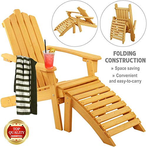 NumaWelt Wood Adirondack Foldable Chair with Ottoman, Natural Wooden Outdoor Garden Patio Deck Furniture