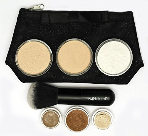 IQ Natural's Large Mineral Makeup Kit | Concealer, Bronzer, Eye Shadow, Setting Powder, 2 Full Size Mineral Foundation | Create A Natural Flawless Look – 8pc Shade[FAIR]