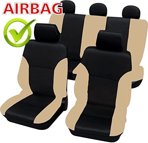 akhan-tuning SB102-Quality Car Seat Cover Seat Covers with Side Airbags Black//Beige