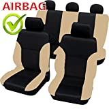 akhan-tuning SB102-Quality Car Seat Cover Seat Covers with Side Airbags Black/Beige