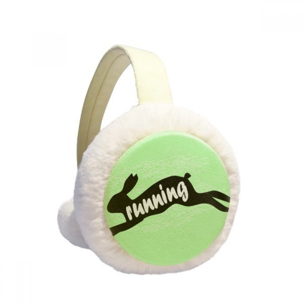 Black Animal Rabbit Silhouette Natural Winter Earmuffs Ear Warmers Faux Fur Foldable Plush Outdoor Gift