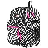 Trans by Jansport Laptop Sleeve Backpack Zebra Print, Hot Pink Trim