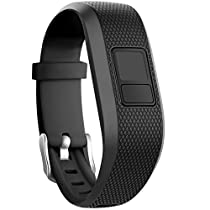 SKYLET Garmin vivofit 3 Silicone Replacement Bands with Secure Watch Clasp (No Tracker) (Black, Standard (6.0-9.0 in))