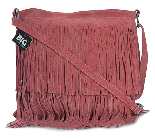 Bag Large Fringe ASHLEY Womens Suede Coral Leather Size Tassle Shoulder Deep LIATALIA IwHqY100