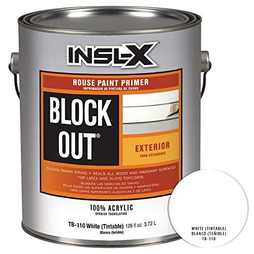 INSL-X TB110009A-01 Acrylic Exterior Tannin Blocking Products Corp TB1100099-01 Gallon White Black Out Primer, 1 Gallon,