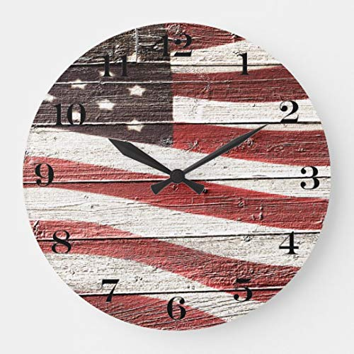 Painted American Flag On Rustic Wood Large Wall Clock Decor for Bedroom Nursery Round Silent Wood Clock Art for Kids Girls Boys Room 16 Inches