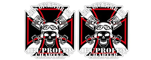 Sons of Arthritis Anarchy Ibuprofen Chapter Oldschool Vintage Biker Sticker Decal Pegatinas Aufkleber/Plus Coconut Shell Keychain Ring/Chopper Outlaw 1% MC Car Truck Bumper Bike Notebook ()