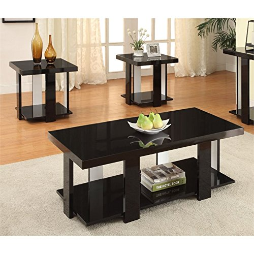 Furniture of America Oslo 3-Piece Modern Accent Tables Set, Black (Coffee Table Accent Pieces)