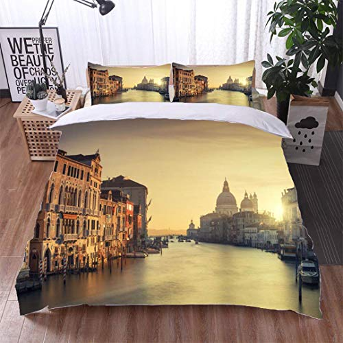 VROSELV-HOME 3pcs Duvet Cover Sets,View from Accademia Bridge Grand Canal and The Church of Santa Maria Della Salute in Venice Italy Kids Bedding - Double Brushed Microfiber ()