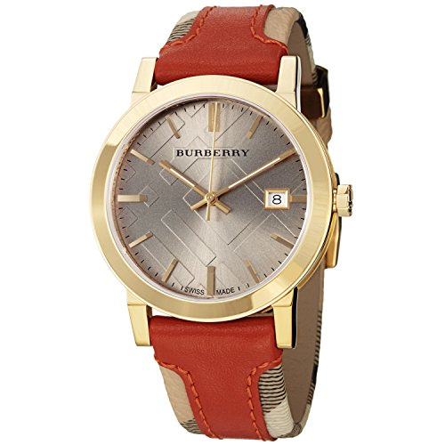 - Burberry Women's BU9016 Large Check Leather on Canvas Strap Watch