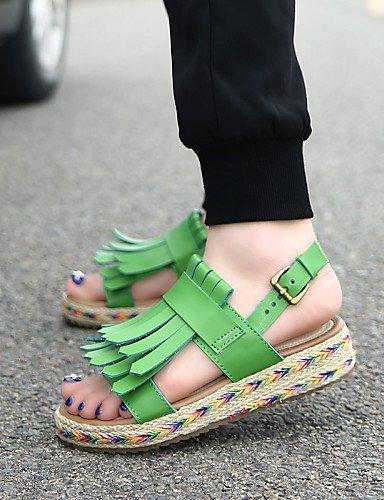 lfnlyx Femme Chaussures Plateforme Gladiateur en microfibre/bout rond/Sandales à bout ouvert pour femme Noir/marron/vert/blanc noir Noir us6 / eu36 / uk4 / cn36