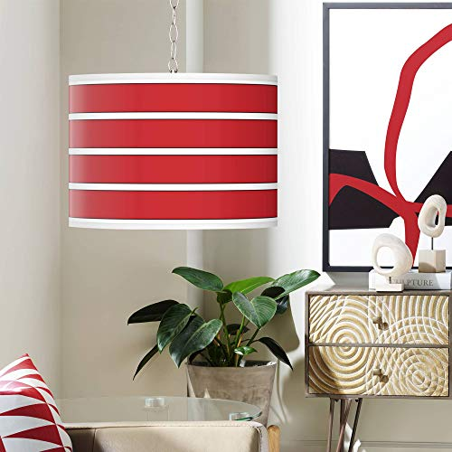 (Swag Style Bold Red Stripe Shade Plug-in Chandelier - Giclee Gallery)