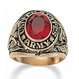 PalmBeach Jewelry Men's Oval Cut Simulated Ruby 14k Yellow Gold-Plated Antique-Finish Army Ring