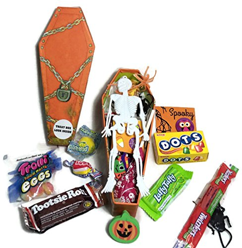 Happy Halloween ~ Fun Coffin Shaped Treat Boxes ~ Filled with Fun Favors and Assorted Treats (4 oz) ()
