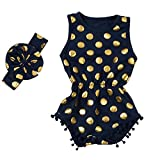 Messy Code Baby Romper Onesies Girls Clothes Gold Dot Jumpsuits Headband Outfit Sleeveless Boutique