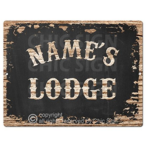 Chic Sign NAME'S LODGE Custom Personalized Tin Rustic Vintage style Retro Kitchen Bar Pub Coffee Shop Decor 9