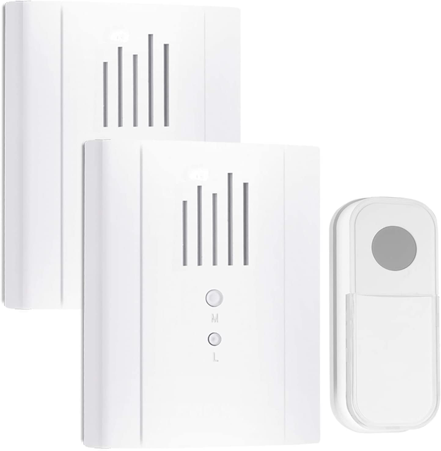 Wireless Doorbell Chime,Waterproof Door Bell Chime Kit Operating at 1300 feet,36 Chimes,DIY Name Plate Suitable for Home Office Classroom,98190x2+90022