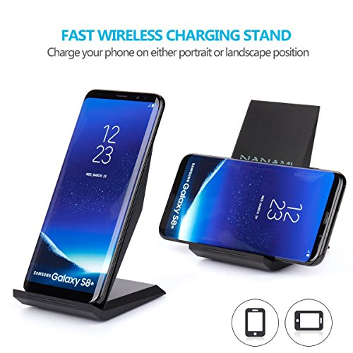 Fast Wireless Charger, NANAMI Qi Certified Charger Wireless Charging Stand for Samsung Note8, iPhone 8/8 Plus, iPhone X, Galaxy S9 S9 Plus S8 S8+ S7 S7 Edge Note 5 S6 Edge+ and All Qi-Enabled Devices by NANAMI (Image #4)