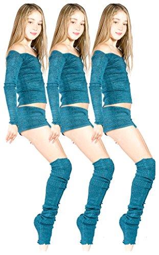 KD dance New York Chocolate Medium Dance Set Thigh High Leg Warmers Stretch Knit Shorts Off Shoulder Top Girls Adults 12+ Stretch Knit Dancewear Not Like It Matters Made in USA KDNY ()