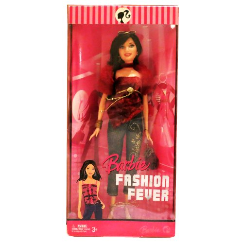 Mattel Year 2007 Barbie Fashion Fever Series 12 Inch Tall Doll Set - Glamorous, Trendy and Popular RAQUELLE (L3332) in Red Velvet Top with Faux Fur Sleeve Plus Bangles, Earrings, High Heel Shoes, Sunglasses and Purse (Doll Heels Shoes Velvet)