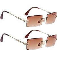 Abbraccia 2Pcs Stylish Rectangle Cut Rimless Tinted Lens Eyewear Shades Coffee