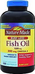 Nature Made Fish Oil 1000mg, Omega 3 300mg, Burp-Less Softgel , 320 Count