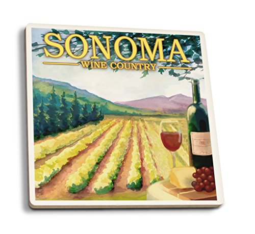Lantern Press Sonoma County Wine Country (Set of 4 Ceramic Coasters - Cork-Backed, Absorbent)