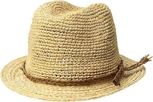 SCALA Women's Crocheted Raffia Fedora, Natural, One Size