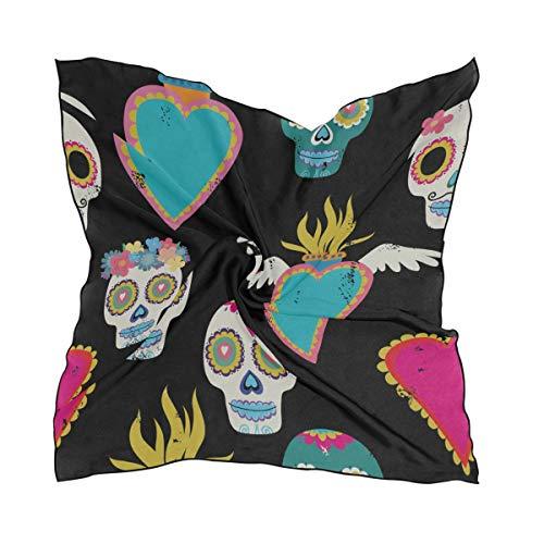 Women's Soft Polyester Silk Square Scarf Heart Bones Human Organs Bones Retro Fashion Print Head & Hair Scarf Neckerchief Accessory-23.6x23.6 Inch ()