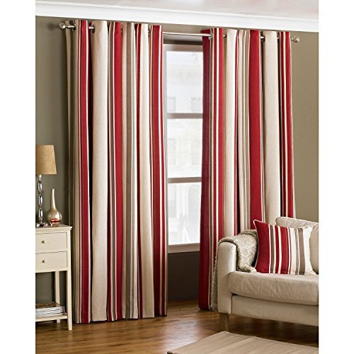 Broadway Raspberry and Cream Striped Eyelet Curtains 66 x 72 Inch Drop, Fully Lined, Ring Top - Ready Made, Red by Broadway