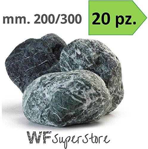 protezione post-vendita Ciottoli di marmo verde Alpi 200 300 - 20 20 20 pezzi - sassi pietre giardino (Naturale)  fino al 70% di sconto
