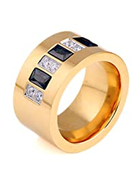Gold Plated Stainless Steel White & Black CZ Zircon Channel Setting Wedding Ring for Women