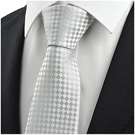 MENDENG Men's Silver Blue Plaid Business Ties Wedding Party Necktie Formal Tie