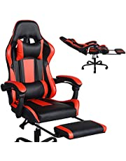 Homy Casa Managerial Executive Chairs Racing Ergonomic Backrest and Seat Height Adjustment Computer Chair with Pillows Recliner Swivel Lean Back Chairs (red-Black-footrest)
