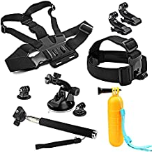 SHOOT Accessories Bundle Kit for GoPro Hero 6/Hero 5 4 3+ 3 2 1/HERO(2018)/Fusion AKASO EK7000 APEMAN Campark FITFORT 4K WIFI Action Camera Head Belt Strap + Chest Belt Strap + Car Suction Cup Mount Holder + Floating bar + Monopod