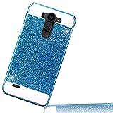LG G3 Case ,Sunroyal Accessory(TM) Beauty Hard PC Luxury Diamond Hybrid Glitter Bling Hard Shiny Sparkling with Crystal Rhinestone Case Cover,Blue