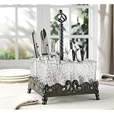 Elegant Home Set of Four Glass on Metal Rack Flatware Caddy Organizer Set.