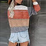 Women Casual Color Block Hoodies Striped Long