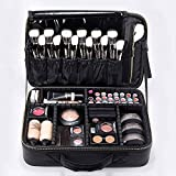 ROWNYEON Makeup Case Travel Makeup Bag Train Case Professional Portable Cosmetic Makeup Brushes Organizer Case Cosmetic Artist Storage Bag for Women EVA Adjustable Dividers 14.1' Medium Black