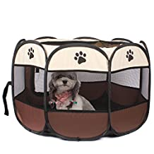 Ezeso Puppy Pet Foldable Portable Dog Cat Rabbit Playpen Exercise Kennel Soft Pet Playpen Removable Mesh Shade Cover (1x72x45)