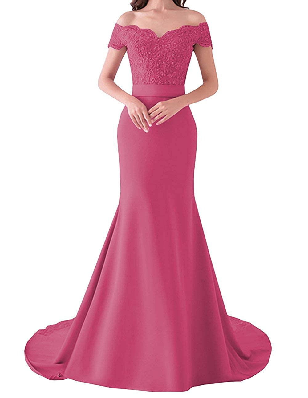 Fuchsia 20KyleBird Women's Sexy Off The Shoulder Lace Mermaid Bridesmaid Dresses Sweetheart Satin Prom Evening Gowns Plus Size