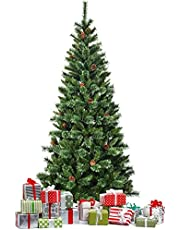 Artificial Christmas Tree Premium Hinged Christmas Tree with Pine Cones Sturdy Metal Stand Natural Lifelike Christmas Tree with Plentiful Branch Tips