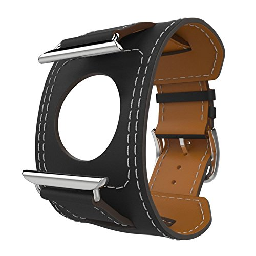 CHEEDAY for Watch Band,Handmade Genuine Leather Smart Cuff Watch Strap Replacement for Apple Watch Mode (Black-38mm)