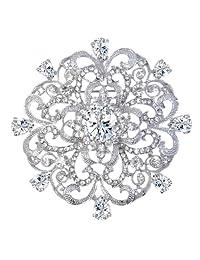 Ever Faith Wedding Silver-Tone Fleur-de-lis Flower Brooch Pendant Clear CZ Austrian Crystal A09515-1